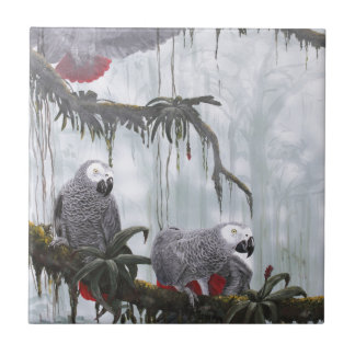 African Grey Parrots flying free Tile