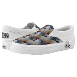 African Grey Pattern Slip-On Sneakers