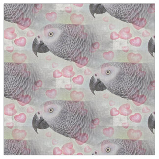 African Grey Puffy Hearts Fabric