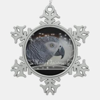 African Grey Snowy Christmas Ornaments