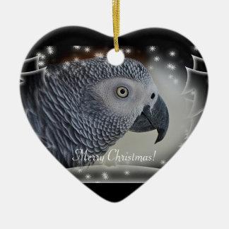 African Grey Snowy Christmas Ornament
