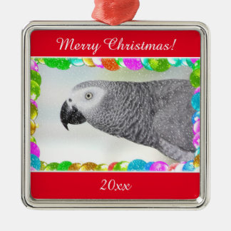 African Grey Snowy Christmas Silver-Colored Square Ornament