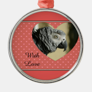 African Grey Vintage Hearts Silver-Colored Round Ornament