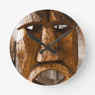 African Hand Carved Mask Round Clock