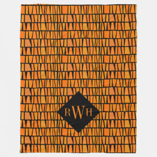 African Inspired Orange Domino Pattern Monogram Fleece Blanket