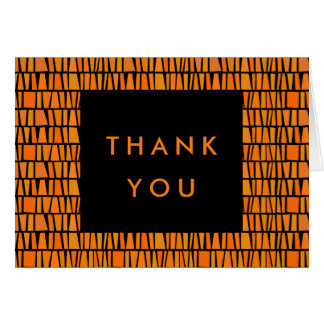 African Inspired Orange Pattern Thank You Card