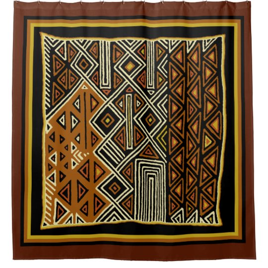 African Kuba Designer Shower Curtain