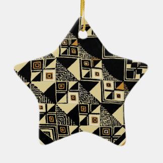 African Kuba Inspired Designs Ceramic Star Ornament