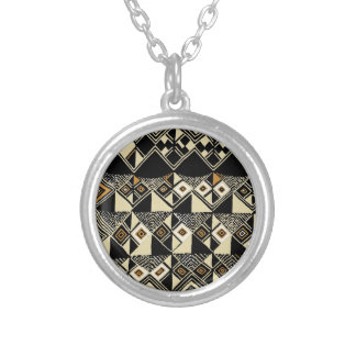 African Kuba Inspired Designs Silver Plated Necklace