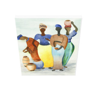 African Ladies and Clay Pots Canvas Print