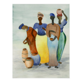 African Ladies and Clay Pots Poster