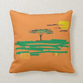 African Landscape Painting Africa Throw Pillow