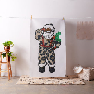 african leopard santa claus fabric