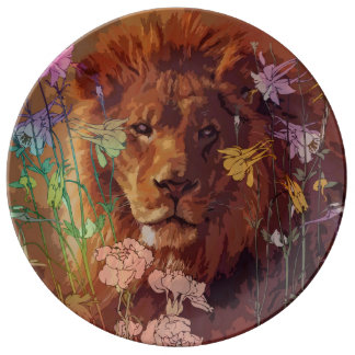 "African lion 10.75"" Decorative Porcelain Plate"
