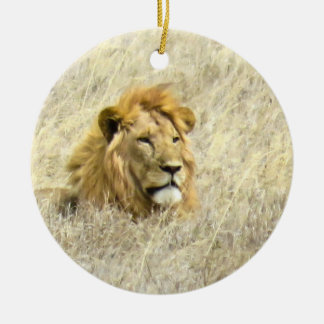 African Lion Ceramic Ornament