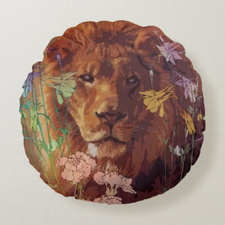 "African lion Cotton Round Throw Pillow (16"")"