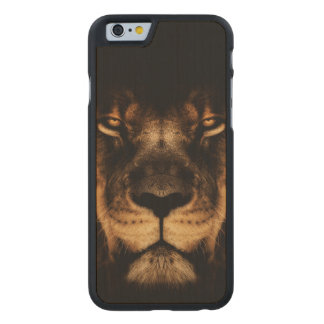 African Lion Face Art Carved Maple iPhone 6 Case