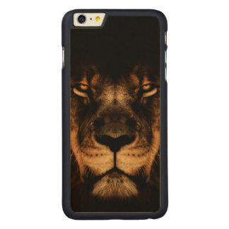 African Lion Face Art Carved Maple iPhone 6 Plus Case