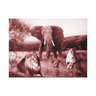African lion family and elephant gallery wrapped canvas