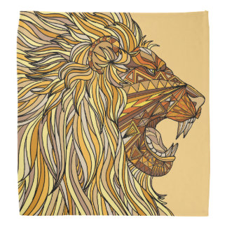 African Lion head earth tones brown gold tan Bandana