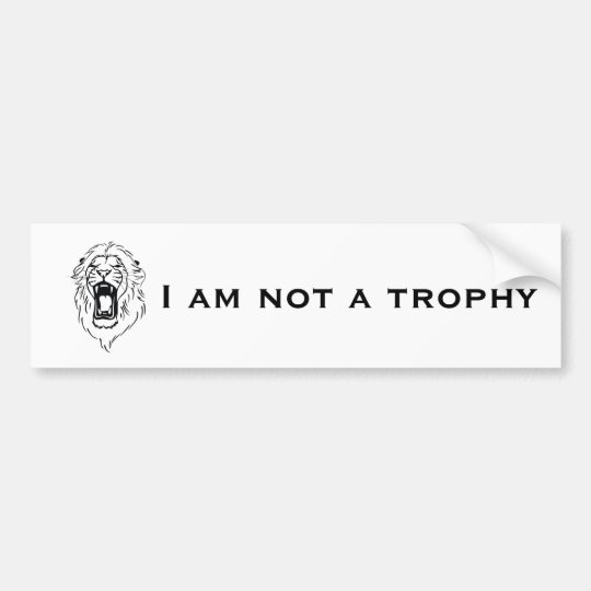 African Lion I Am Not a Trophy Big Cat Bumper Sticker