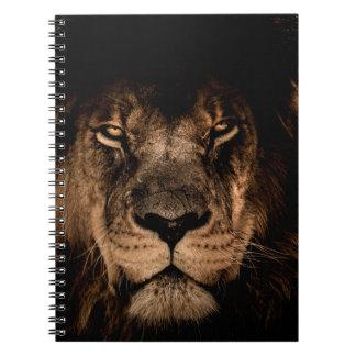 african lion mane close eyes notebook