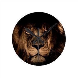 african lion mane close eyes round clock