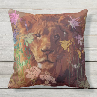 African lion Outdoor Throw Pillow