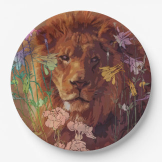African lion Paper Plates 9""