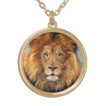 African Lion Round Pendant Necklace