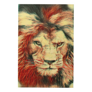 African Lion Surreal Art Wood Print