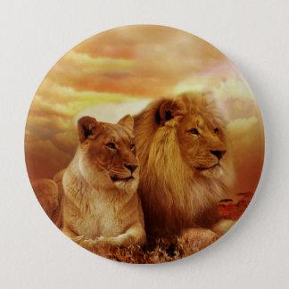 African lions - safari - wildlife 4 inch round button