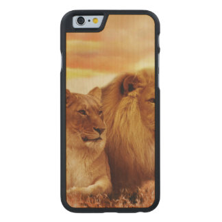 African lions - safari - wildlife carved maple iPhone 6 case