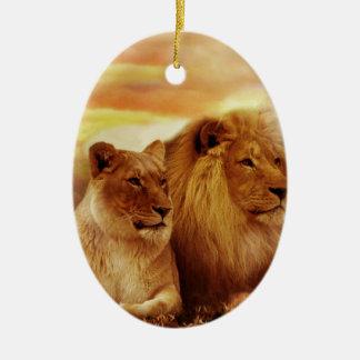 African lions - safari - wildlife ceramic ornament