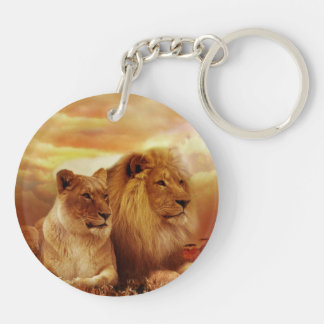 African lions - safari - wildlife keychain