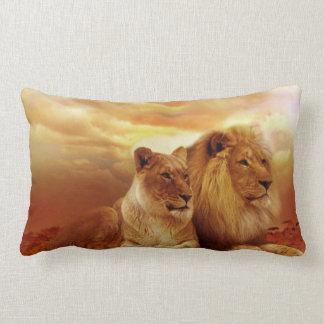 African lions - safari - wildlife lumbar pillow