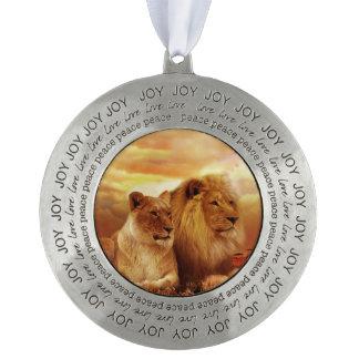 African lions - safari - wildlife pewter ornament