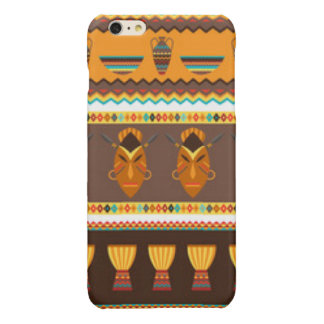 African Mask Drum Pattern Print Design