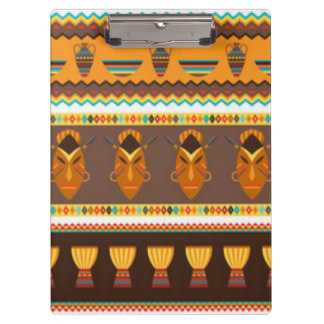 African Mask Drum Pattern Print Design Clipboard