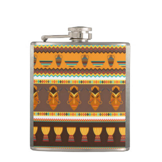 African Mask Drum Pattern Print Design Hip Flask