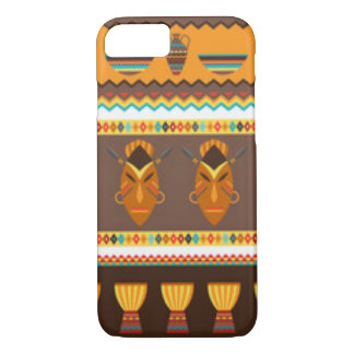 African Mask Drum Pattern Print Design iPhone 8/7 Case