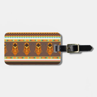 African Mask Drum Pattern Print Design Luggage Tag