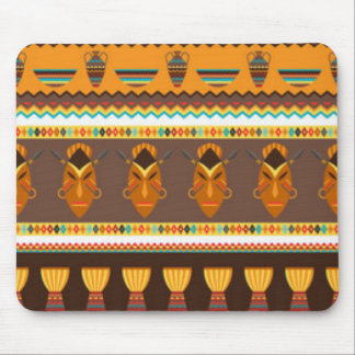 African Mask Drum Pattern Print Design Mouse Pad