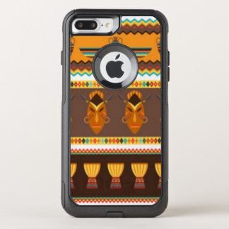 African Mask Drum Pattern Print Design OtterBox Commuter iPhone 7 Plus Case