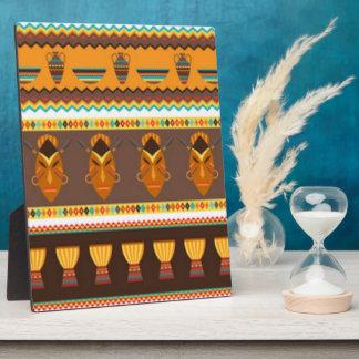 African Mask Drum Pattern Print Design Plaque