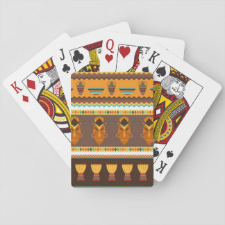 African Mask Drum Pattern Print Design Playing Cards
