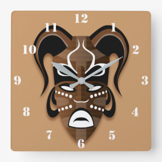 AFRICAN MASK ILLUSTRATION WITH WHITE NUMERALS SQUARE WALL CLOCK