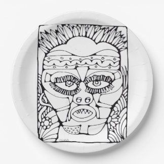 African mask paper plate 9 inch paper plate