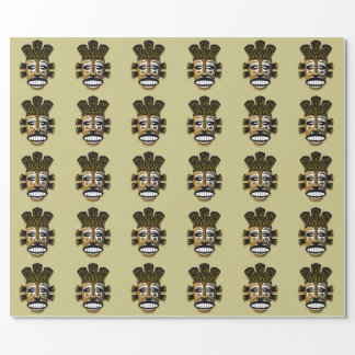 AFRICAN MASK PATTERN WRAPPING PAPER
