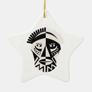 African mask primitive folk art christmas ornament